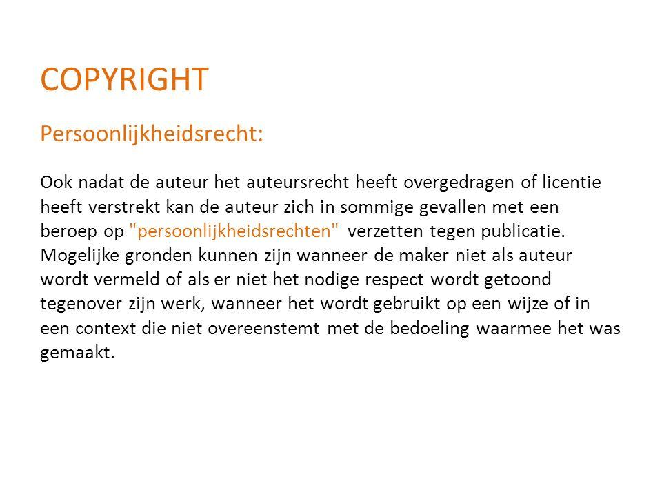 Ook nadat de auteur het auteursrecht heeft overgedragen of licentie heeft verstrekt kan de auteur zich in sommige gevallen met een beroep op