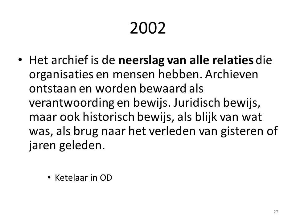 2002 Het archief is de neerslag van alle relaties die organisaties en mensen hebben. Archieven ontstaan en worden bewaard als verantwoording en bewijs