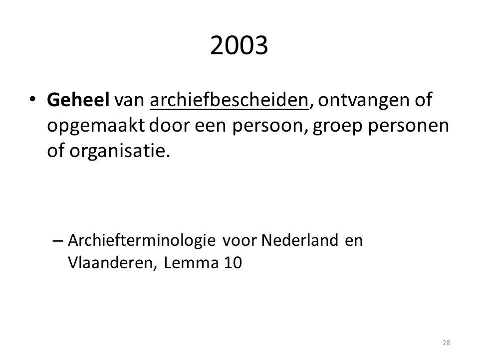 2003 Geheel van archiefbescheiden, ontvangen of opgemaakt door een persoon, groep personen of organisatie. – Archiefterminologie voor Nederland en Vla