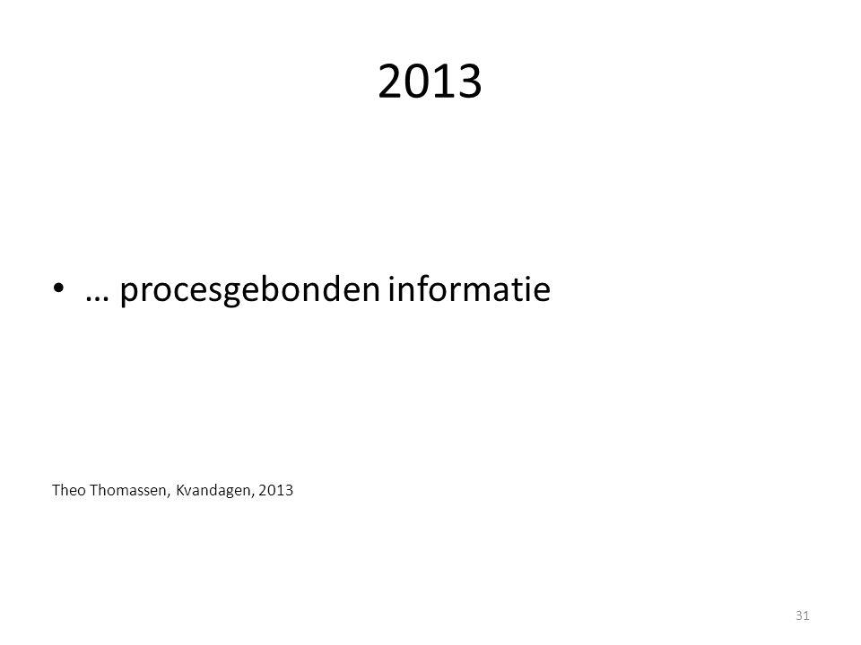 2013 … procesgebonden informatie Theo Thomassen, Kvandagen, 2013 31