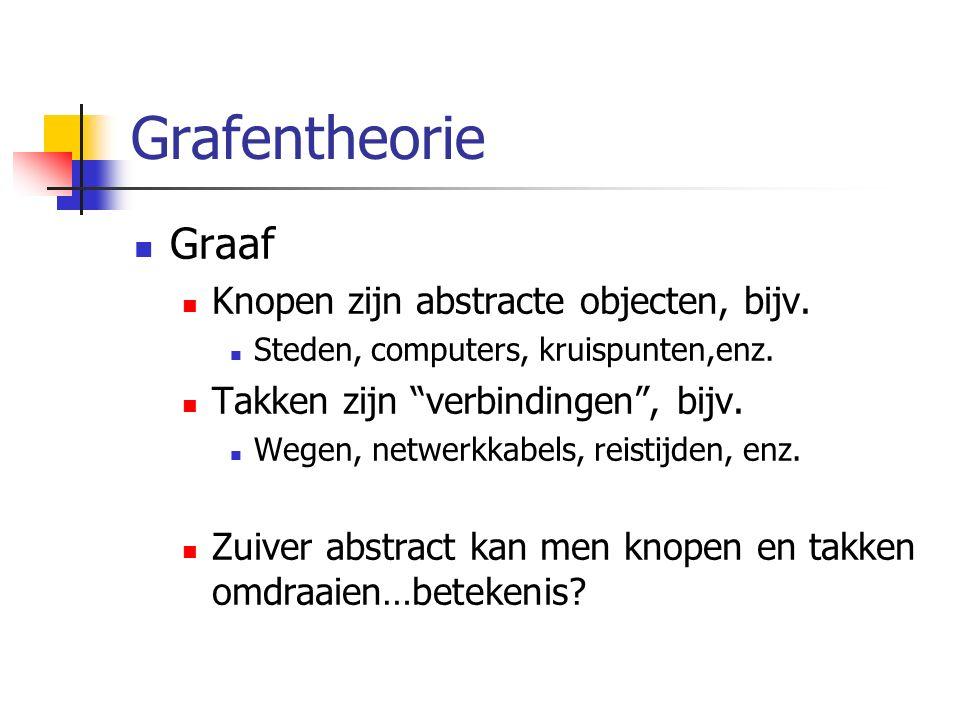 """Grafentheorie Graaf Knopen zijn abstracte objecten, bijv. Steden, computers, kruispunten,enz. Takken zijn """"verbindingen"""", bijv. Wegen, netwerkkabels,"""