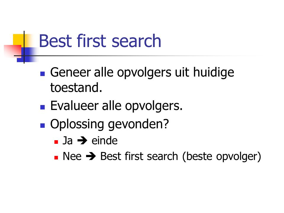 Geneer alle opvolgers uit huidige toestand. Evalueer alle opvolgers. Oplossing gevonden? Ja  einde Nee  Best first search (beste opvolger)
