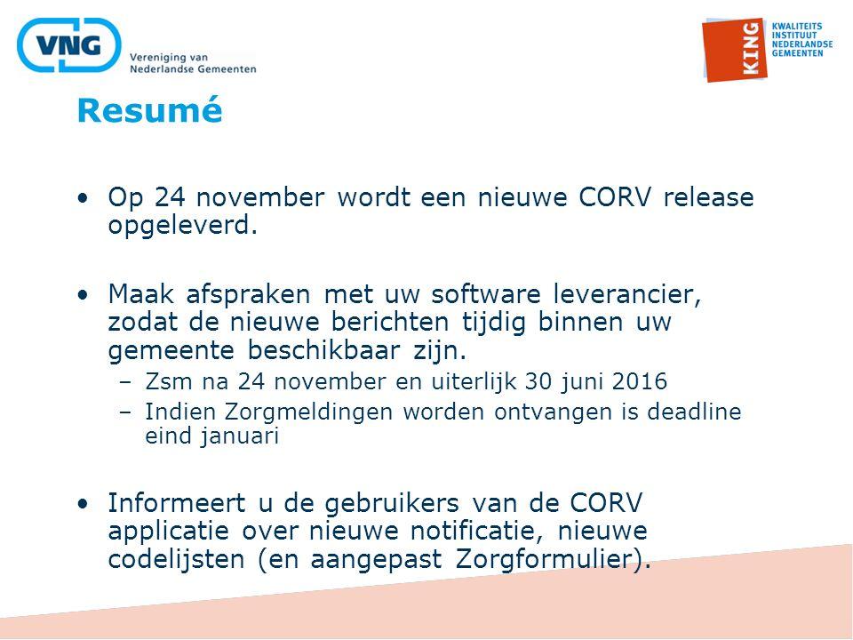 Resumé Op 24 november wordt een nieuwe CORV release opgeleverd.