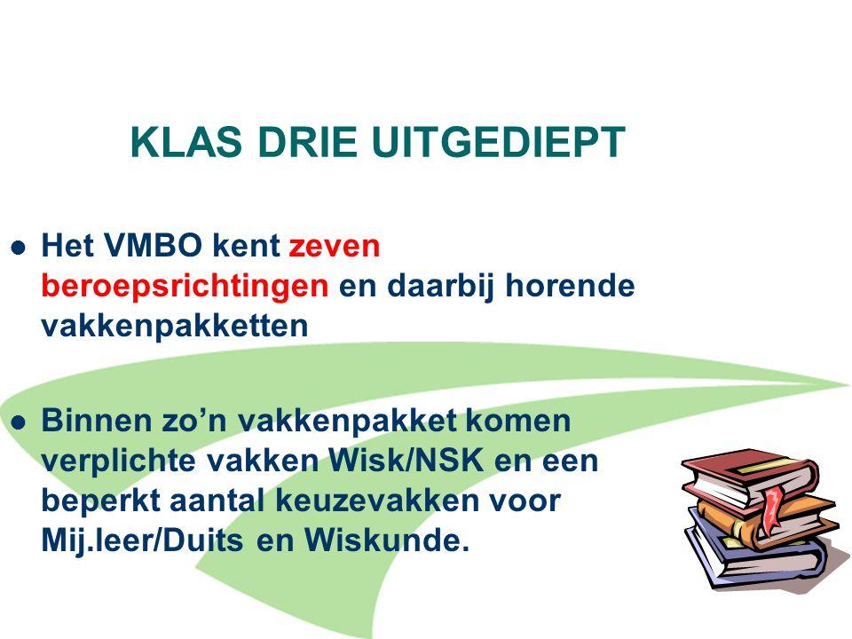 10 KLAS DRIE UITGEDIEPT Het VMBO kent zeven beroepsrichtingen en daarbij horende vakkenpakketten Binnen zo'n vakkenpakket komen verplichte vakken Wisk