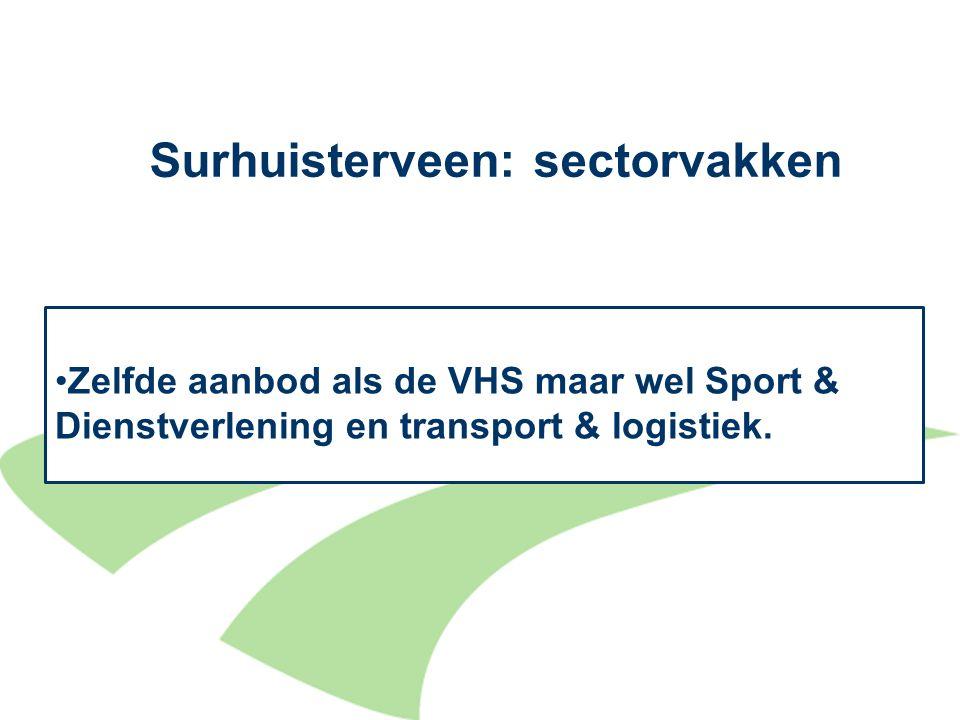 Surhuisterveen:sectorvakken 12 Zelfde aanbod als de VHS maar wel Sport & Dienstverlening en transport & logistiek.