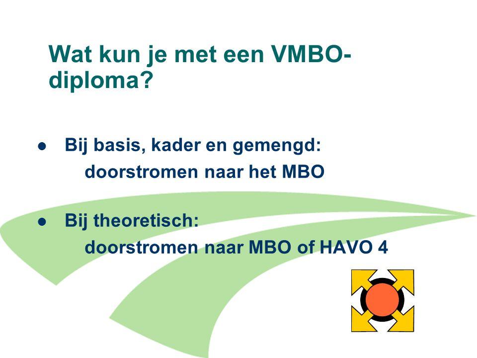 17 Wat kun je met een VMBO- diploma? Bij basis, kader en gemengd: doorstromen naar het MBO Bij theoretisch: doorstromen naar MBO of HAVO 4