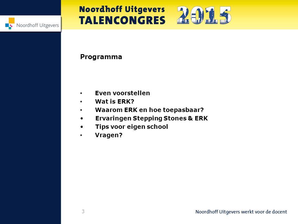 3 Programma Even voorstellen Wat is ERK.Waarom ERK en hoe toepasbaar.