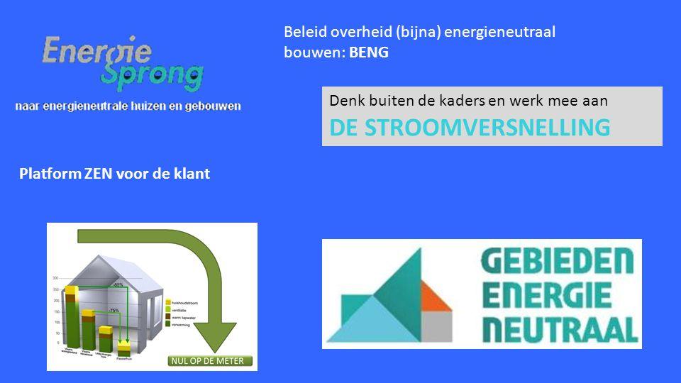 Denk buiten de kaders en werk mee aan DE STROOMVERSNELLING Beleid overheid (bijna) energieneutraal bouwen: BENG Platform ZEN voor de klant
