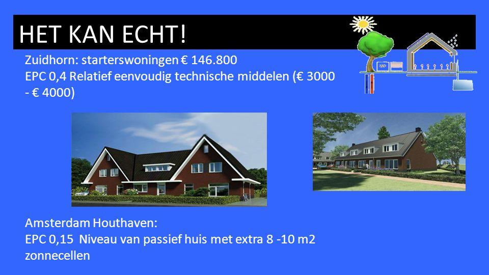 HET KAN ECHT! Zuidhorn: starterswoningen € 146.800 EPC 0,4 Relatief eenvoudig technische middelen (€ 3000 - € 4000) Amsterdam Houthaven: EPC 0,15 Nive