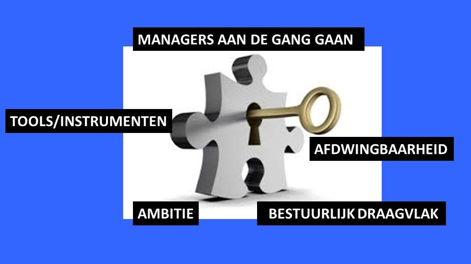 AMBITIE BESTUURLIJK DRAAGVLAK AFDWINGBAARHEID MANAGERS AAN DE GANG GAAN TOOLS/INSTRUMENTEN
