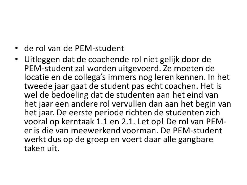 de rol van de PEM-student Uitleggen dat de coachende rol niet gelijk door de PEM-student zal worden uitgevoerd. Ze moeten de locatie en de collega's i