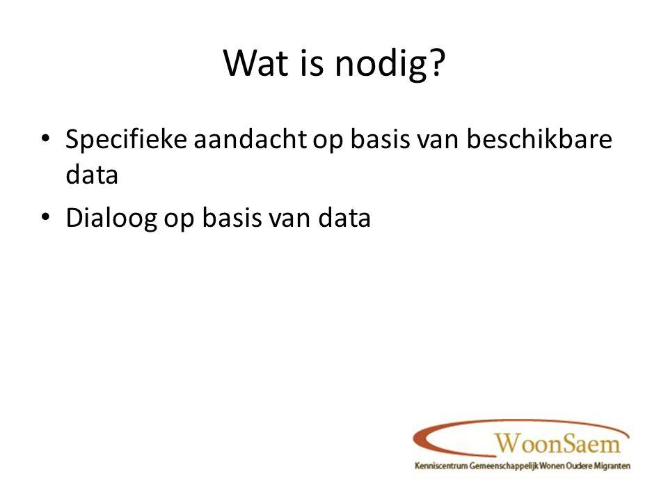 Wat is nodig Specifieke aandacht op basis van beschikbare data Dialoog op basis van data