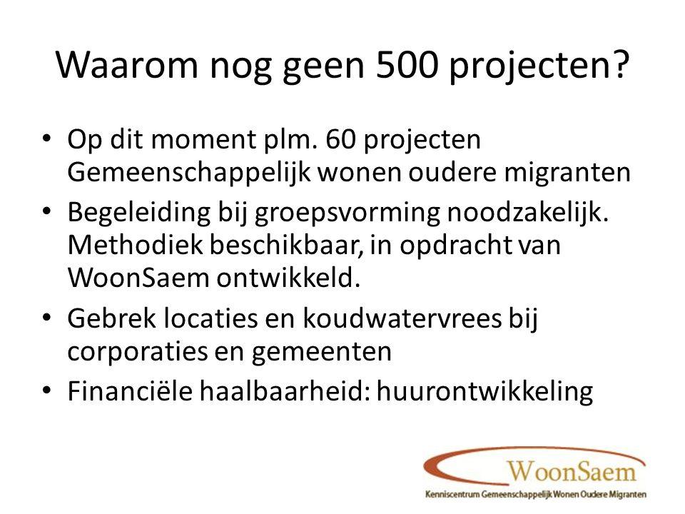 Waarom nog geen 500 projecten. Op dit moment plm.