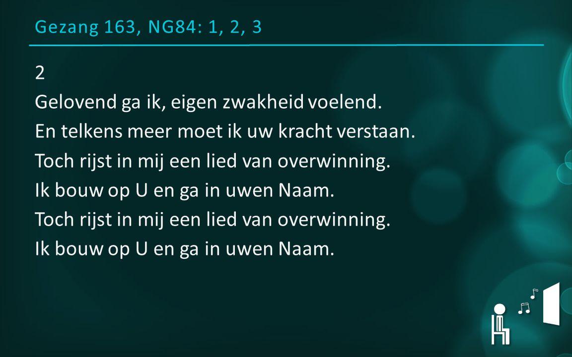 Gezang 163, NG84: 1, 2, 3 2 Gelovend ga ik, eigen zwakheid voelend.