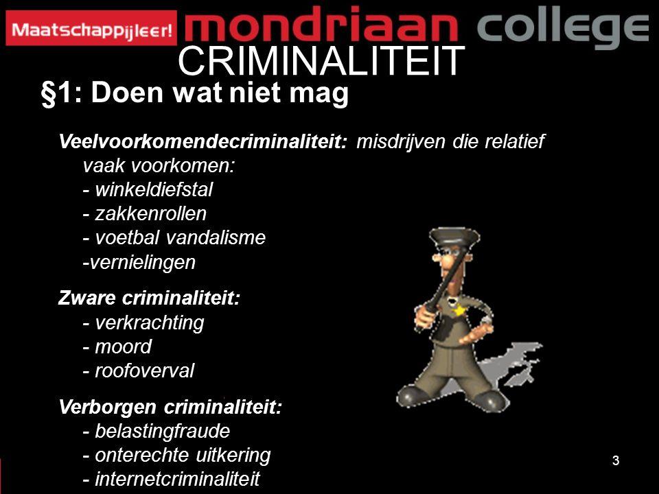 3 CRIMINALITEIT §1: Doen wat niet mag Veelvoorkomendecriminaliteit: misdrijven die relatief vaak voorkomen: - winkeldiefstal - zakkenrollen - voetbal