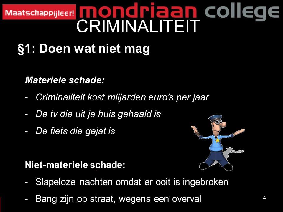 4 CRIMINALITEIT §1: Doen wat niet mag Materiele schade: -Criminaliteit kost miljarden euro's per jaar -De tv die uit je huis gehaald is -De fiets die