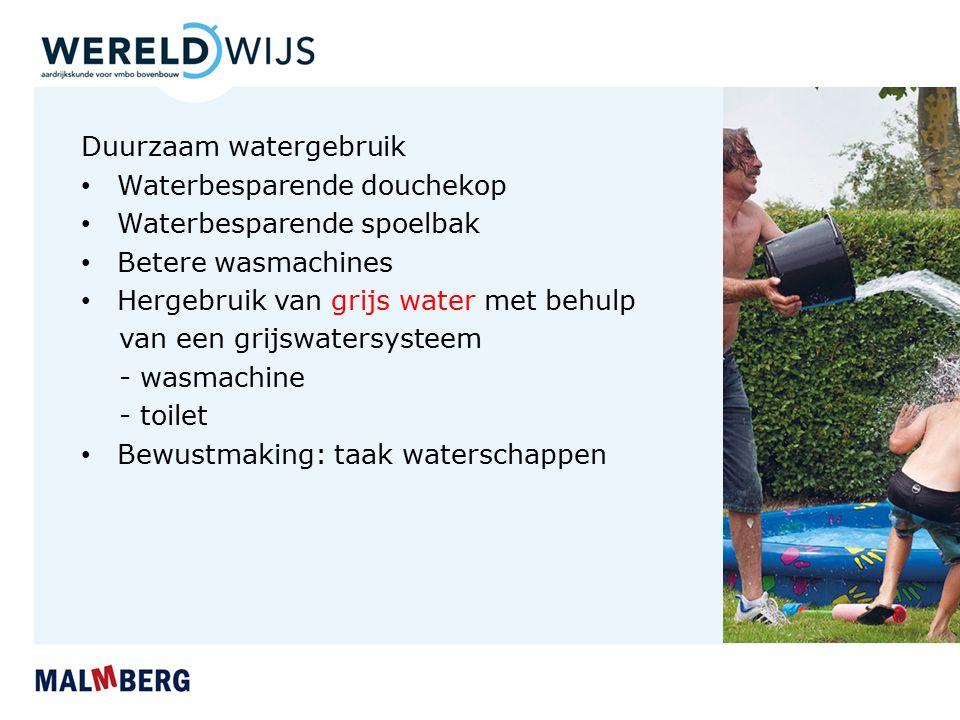 Duurzaam watergebruik Waterbesparende douchekop Waterbesparende spoelbak Betere wasmachines Hergebruik van grijs water met behulp van een grijswatersy
