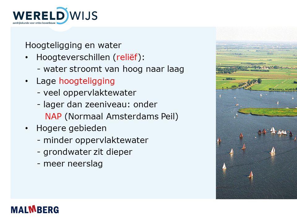 Hoogteligging en water Hoogteverschillen (reliëf): - water stroomt van hoog naar laag Lage hoogteligging - veel oppervlaktewater - lager dan zeeniveau