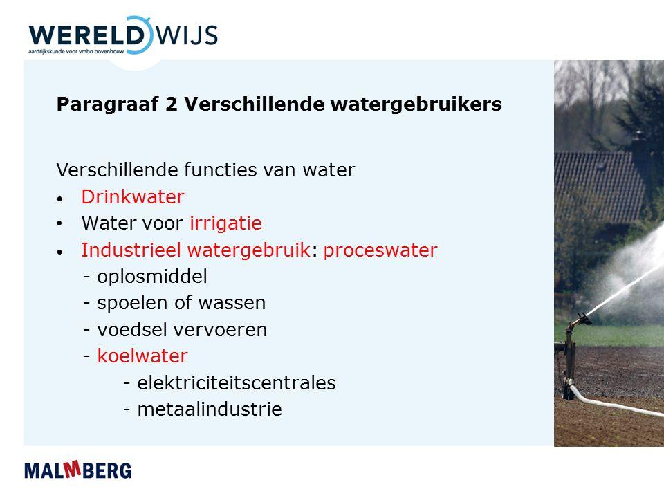 Paragraaf 2 Verschillende watergebruikers Verschillende functies van water Drinkwater Water voor irrigatie Industrieel watergebruik: proceswater - opl