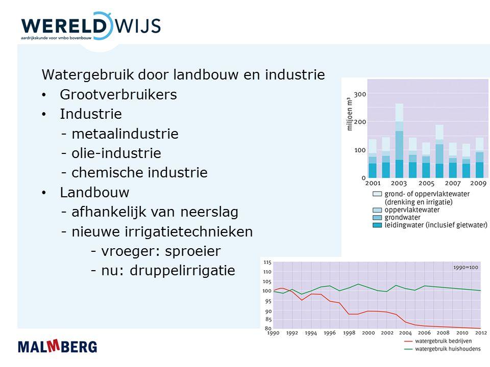 Watergebruik door landbouw en industrie Grootverbruikers Industrie - metaalindustrie - olie-industrie - chemische industrie Landbouw - afhankelijk van