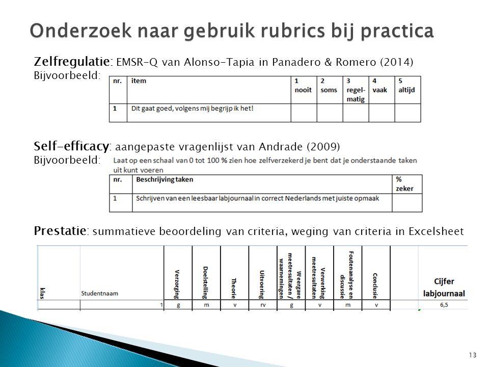 13 Onderzoek naar gebruik rubrics bij practica Zelfregulatie: EMSR-Q van Alonso-Tapia in Panadero & Romero (2014) Bijvoorbeeld: Self-efficacy: aangepaste vragenlijst van Andrade (2009) Bijvoorbeeld: Prestatie: summatieve beoordeling van criteria, weging van criteria in Excelsheet