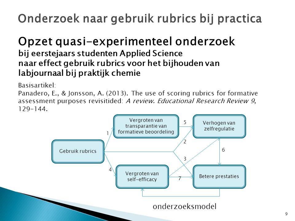 9 Onderzoek naar gebruik rubrics bij practica Opzet quasi-experimenteel onderzoek bij eerstejaars studenten Applied Science naar effect gebruik rubrics voor het bijhouden van labjournaal bij praktijk chemie Basisartikel: Panadero, E., & Jonsson, A.