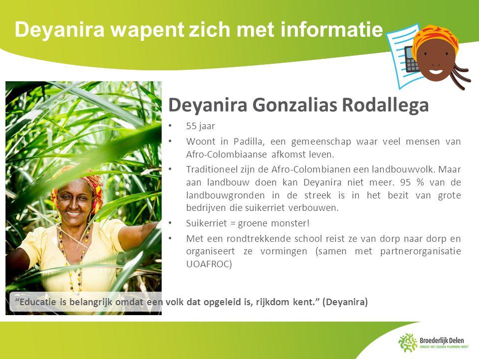 Deyanira wapent zich met informatie Deyanira Gonzalias Rodallega 55 jaar Woont in Padilla, een gemeenschap waar veel mensen van Afro-Colombiaanse afko