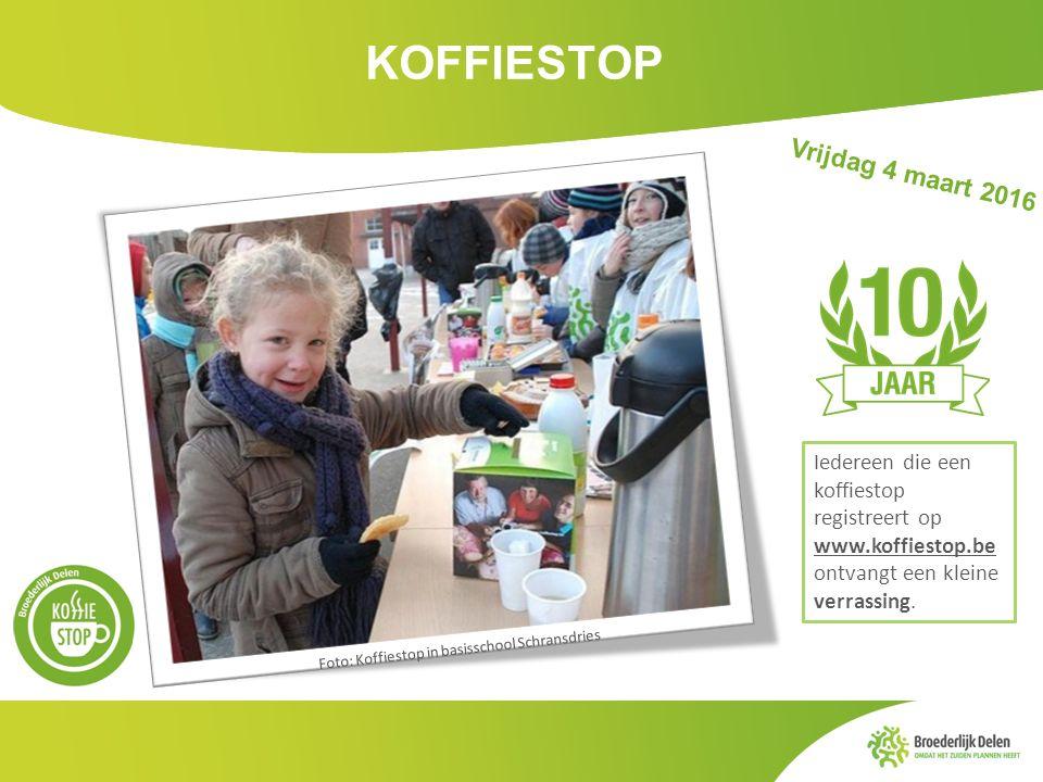 KOFFIESTOP Iedereen die een koffiestop registreert op www.koffiestop.be ontvangt een kleine verrassing. Vrijdag 4 maart 2016 Foto: Koffiestop in basis
