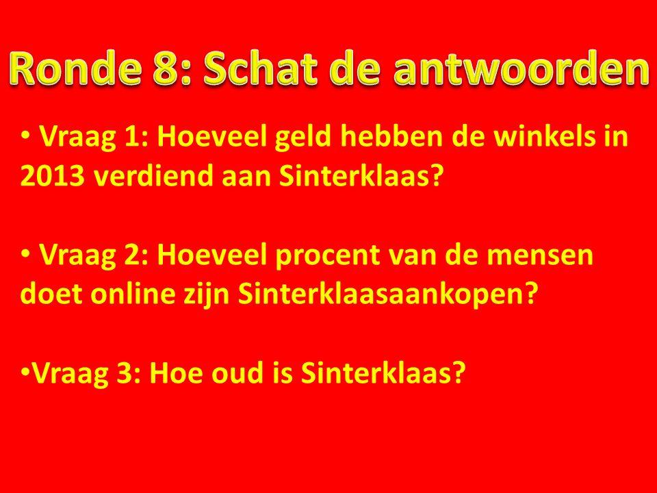 Vraag 1: Hoeveel geld hebben de winkels in 2013 verdiend aan Sinterklaas? Vraag 2: Hoeveel procent van de mensen doet online zijn Sinterklaasaankopen?