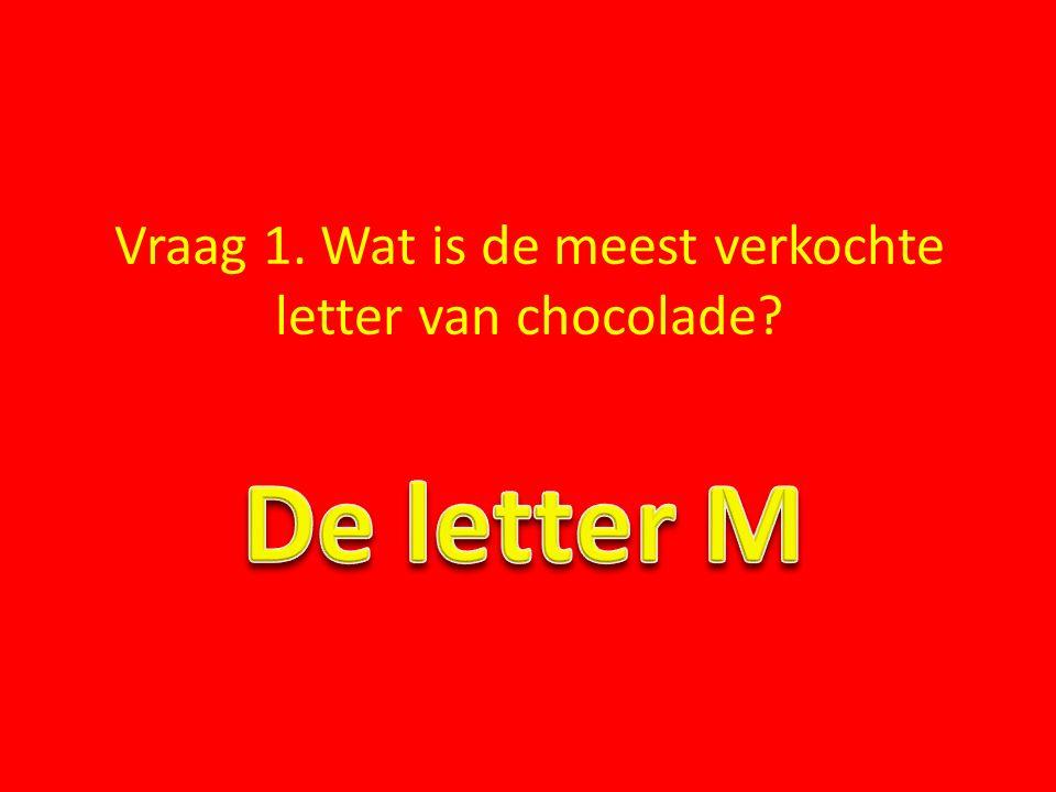 Vraag 1. Wat is de meest verkochte letter van chocolade?