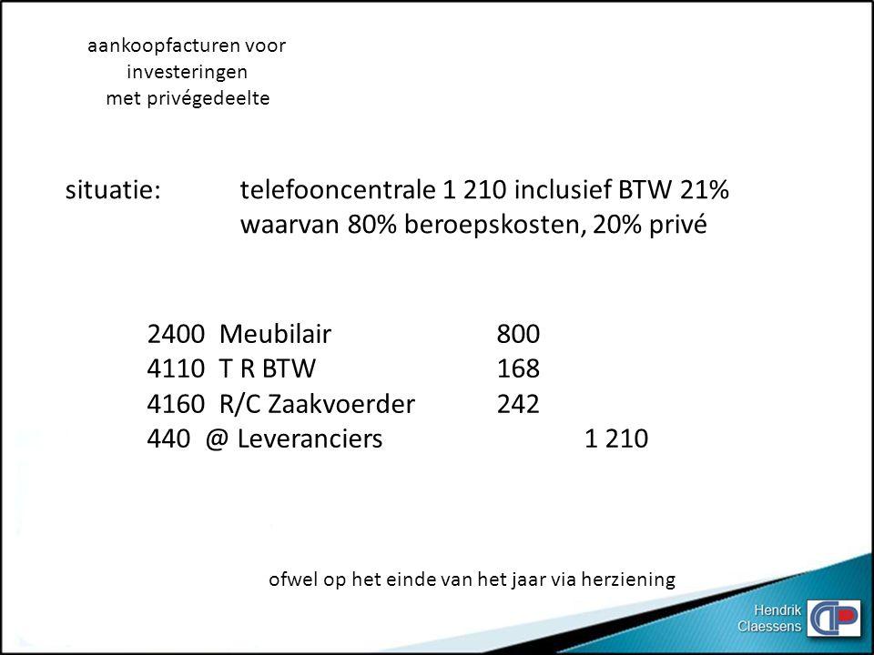2400 Meubilair800 4110 T R BTW 168 4160 R/C Zaakvoerder 242 440 @ Leveranciers1 210 aankoopfacturen voor investeringen met privégedeelte situatie: tel