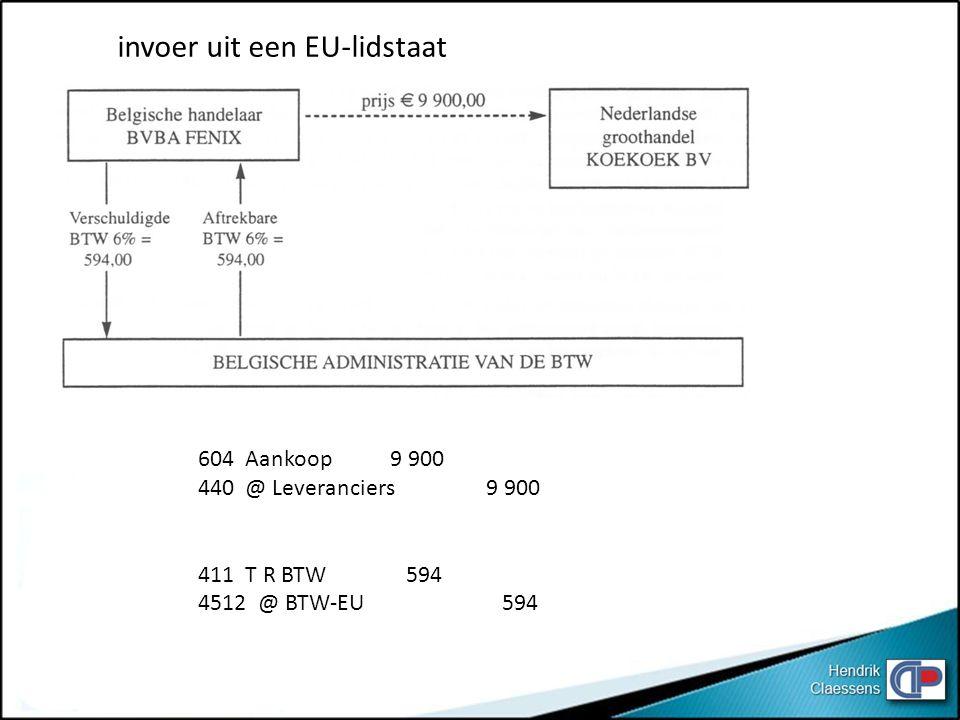 invoer uit een EU-lidstaat 604 Aankoop9 900 440 @ Leveranciers9 900 411 T R BTW 594 4512 @ BTW-EU 594