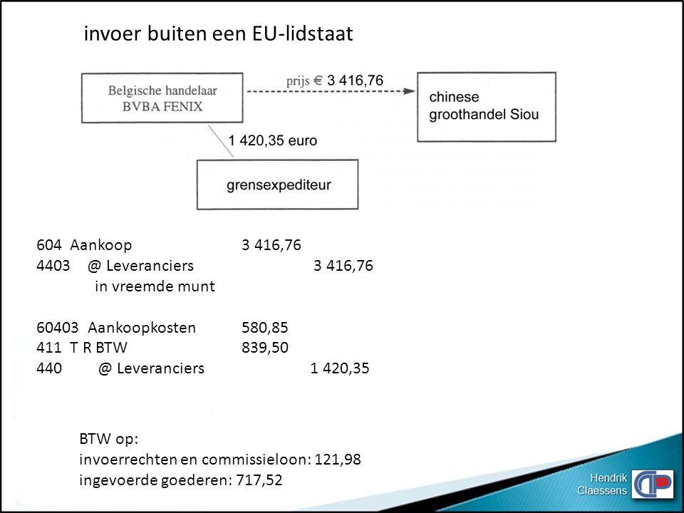 invoer buiten een EU-lidstaat 604 Aankoop3 416,76 4403 @ Leveranciers 3 416,76 in vreemde munt 60403 Aankoopkosten580,85 411 T R BTW 839,50 440 @ Leve