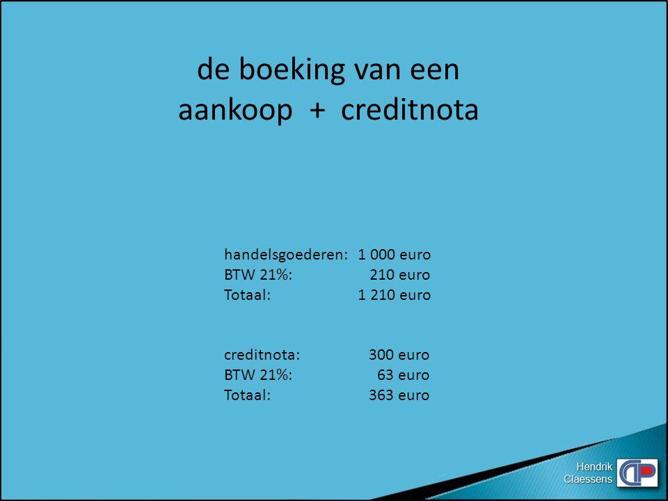 de boeking van een aankoop + creditnota handelsgoederen: 1 000 euro BTW 21%: 210 euro Totaal:1 210 euro creditnota: 300 euro BTW 21%: 63 euro Totaal: