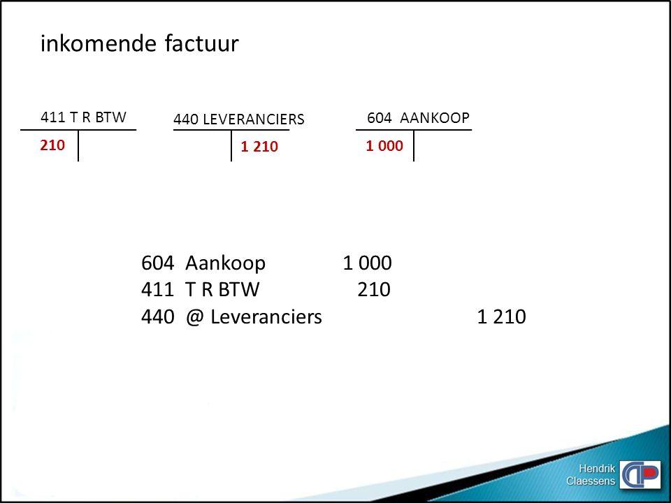 604 Aankoop1 000 411 T R BTW 210 440 @ Leveranciers1 210 411 T R BTW 210 440 LEVERANCIERS 1 210 604 AANKOOP 1 000 inkomende factuur