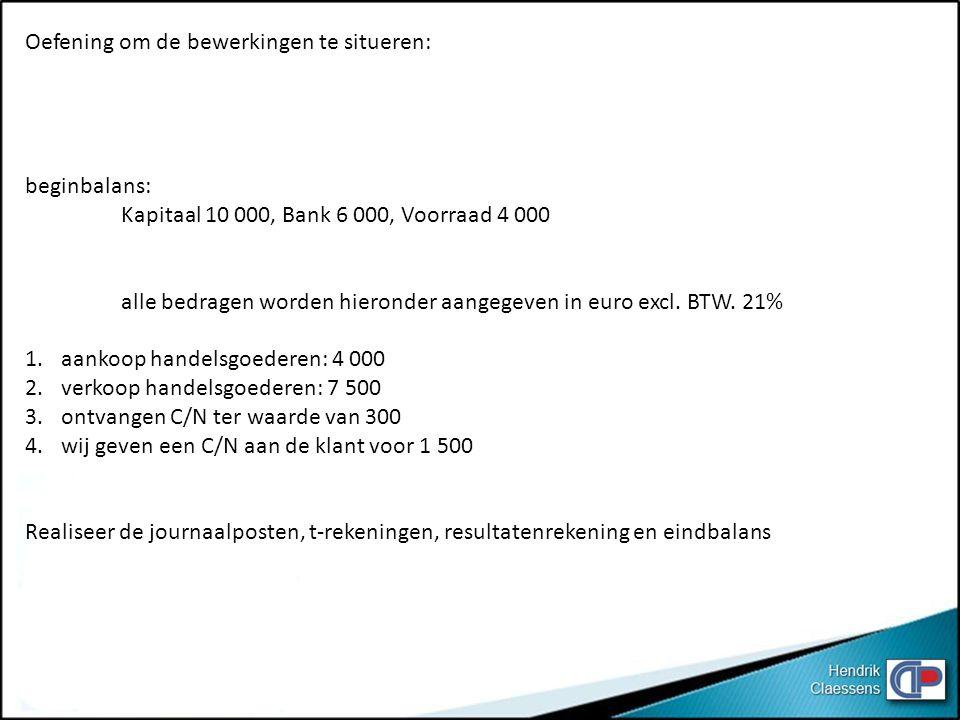Oefening om de bewerkingen te situeren: beginbalans: Kapitaal 10 000, Bank 6 000, Voorraad 4 000 alle bedragen worden hieronder aangegeven in euro exc