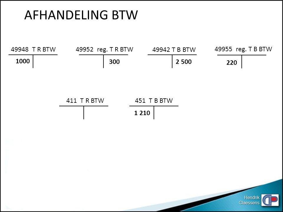 AFHANDELING BTW 49948 T R BTW 1000 49952 reg. T R BTW 300 49942 T B BTW 2 500 220 49955 reg. T B BTW 411 T R BTW451 T B BTW 1 210