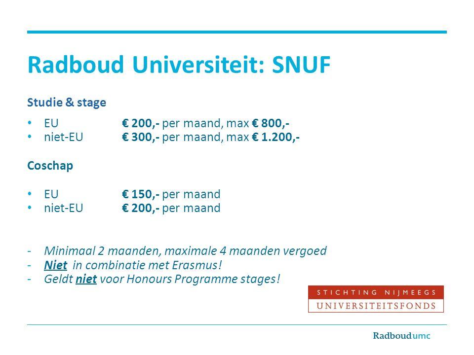Radboud Universiteit: SNUF Studie & stage EU € 200,- per maand, max € 800,- niet-EU€ 300,- per maand, max € 1.200,- Coschap EU € 150,- per maand niet-