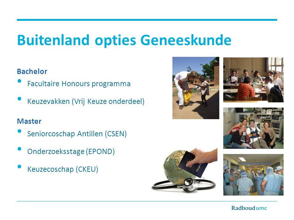 Buitenland opties BMW & BMS Bachelor Facultaire Honours programma Bachelorstage (3 e jaar) Master Profiel/2 e stage ( kleine ) en hoofdvakstage ( grote ) Keuzevakken in de vrije ruimte (electives) Tip HTA studenten: SAMS (database vacatures & stages) https://msc-hta.eu/SAMS/https://msc-hta.eu/SAMS/