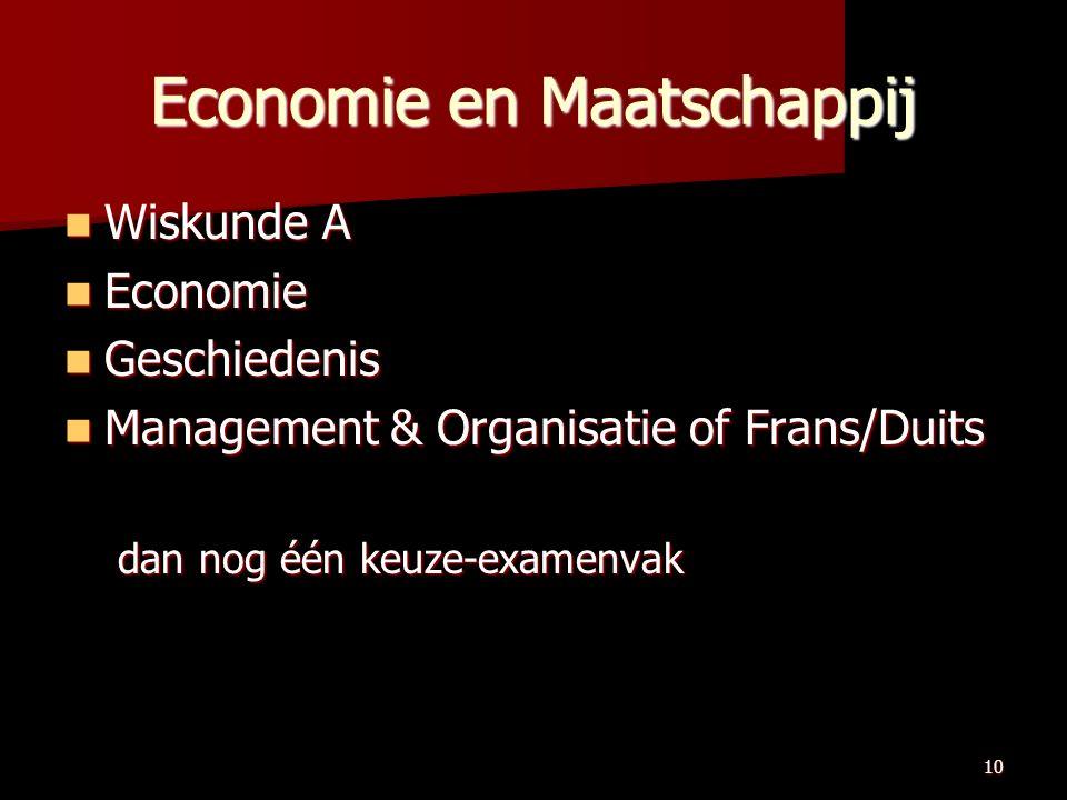 10 Economie en Maatschappij Wiskunde A Wiskunde A Economie Economie Geschiedenis Geschiedenis Management & Organisatie of Frans/Duits Management & Organisatie of Frans/Duits dan nog één keuze-examenvak