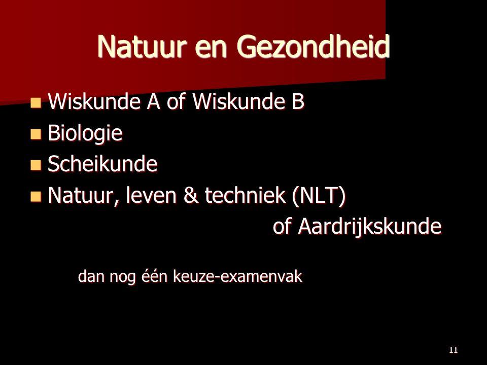 11 Natuur en Gezondheid Wiskunde A of Wiskunde B Wiskunde A of Wiskunde B Biologie Biologie Scheikunde Scheikunde Natuur, leven & techniek (NLT) Natuur, leven & techniek (NLT) of Aardrijkskunde dan nog één keuze-examenvak