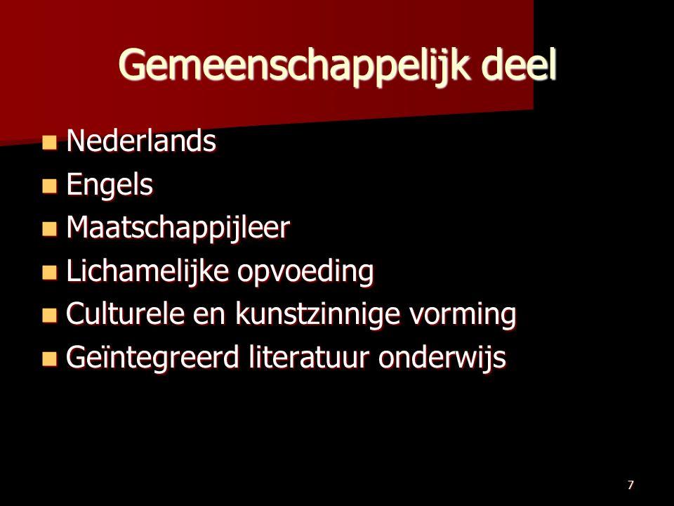 7 Gemeenschappelijk deel Nederlands Nederlands Engels Engels Maatschappijleer Maatschappijleer Lichamelijke opvoeding Lichamelijke opvoeding Culturele en kunstzinnige vorming Culturele en kunstzinnige vorming Geïntegreerd literatuur onderwijs Geïntegreerd literatuur onderwijs