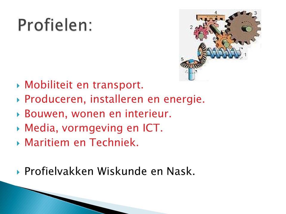  Mobiliteit en transport.  Produceren, installeren en energie.