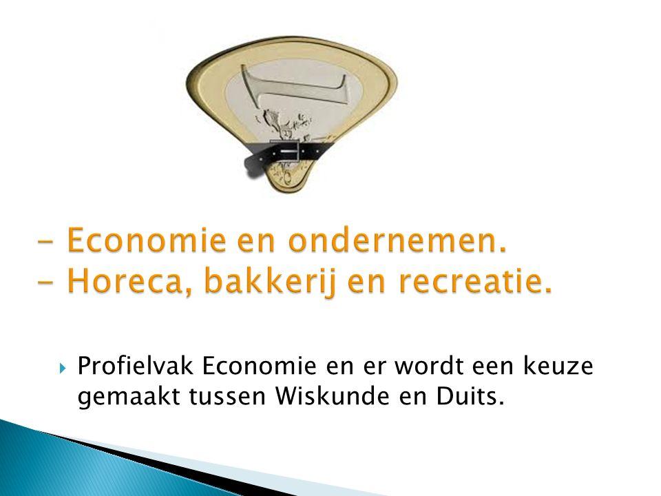  Profielvak Economie en er wordt een keuze gemaakt tussen Wiskunde en Duits.