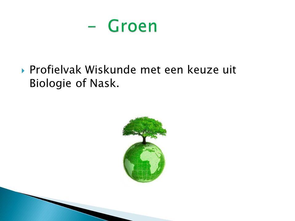  Profielvak Wiskunde met een keuze uit Biologie of Nask.