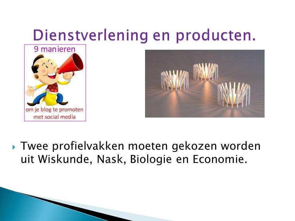  Twee profielvakken moeten gekozen worden uit Wiskunde, Nask, Biologie en Economie.