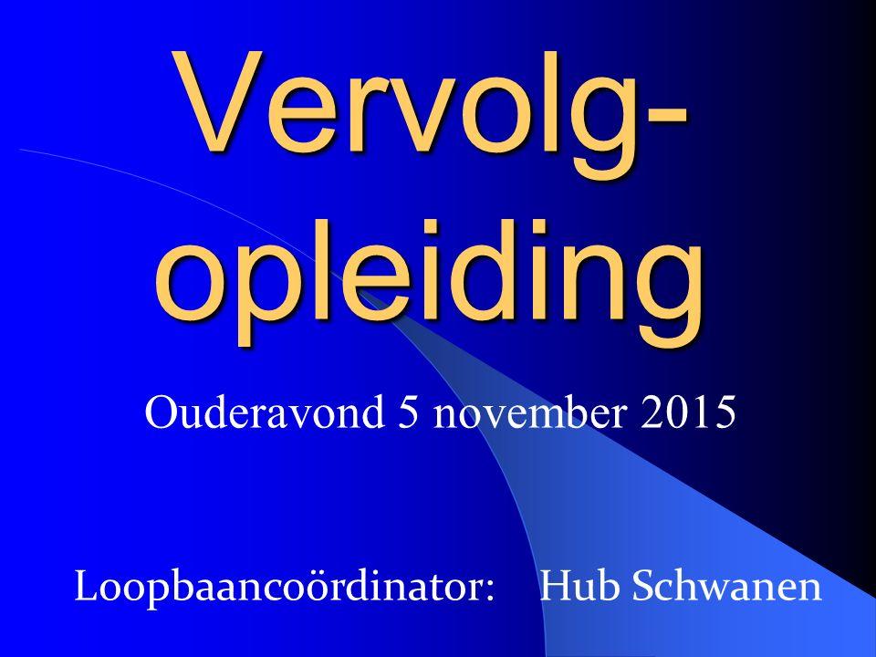 Ouderavond 5 november 2015 Vervolg- opleiding Loopbaancoördinator: Hub Schwanen