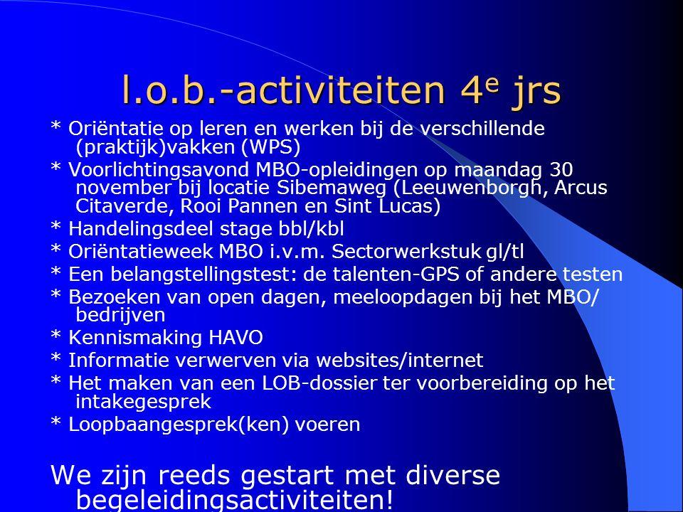 l.o.b.-activiteiten 4 e jrs * Oriëntatie op leren en werken bij de verschillende (praktijk)vakken (WPS) * Voorlichtingsavond MBO-opleidingen op maanda