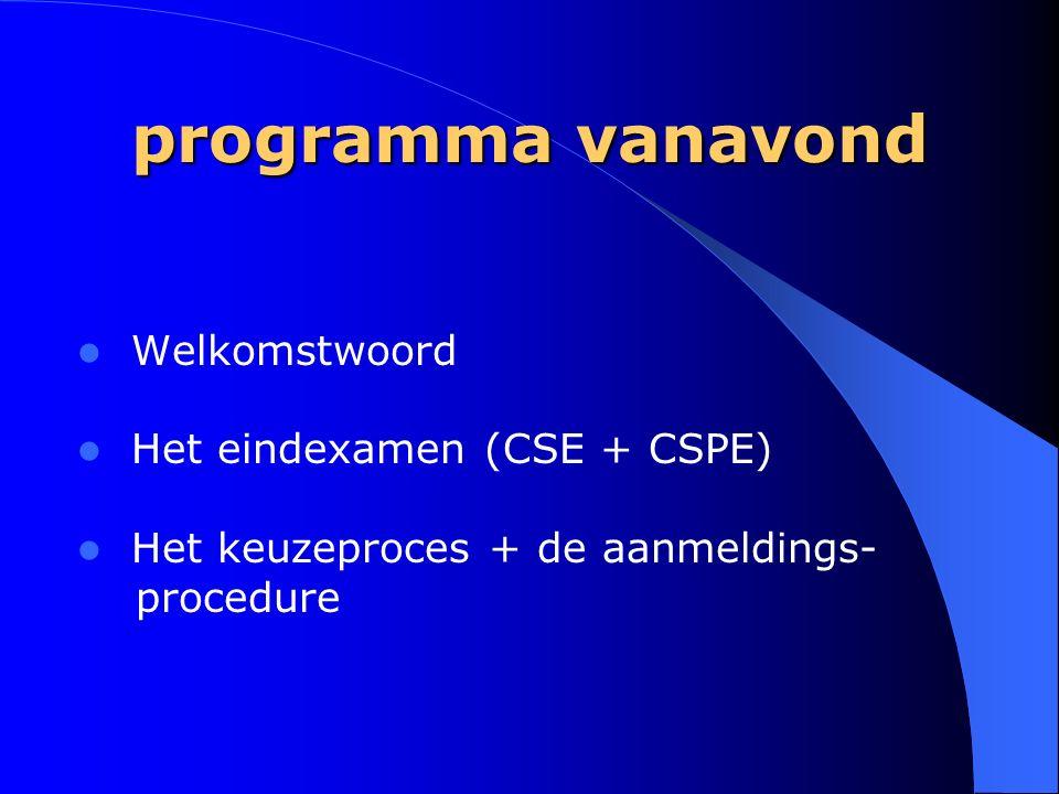 programma vanavond Welkomstwoord Het eindexamen (CSE + CSPE) Het keuzeproces + de aanmeldings- procedure