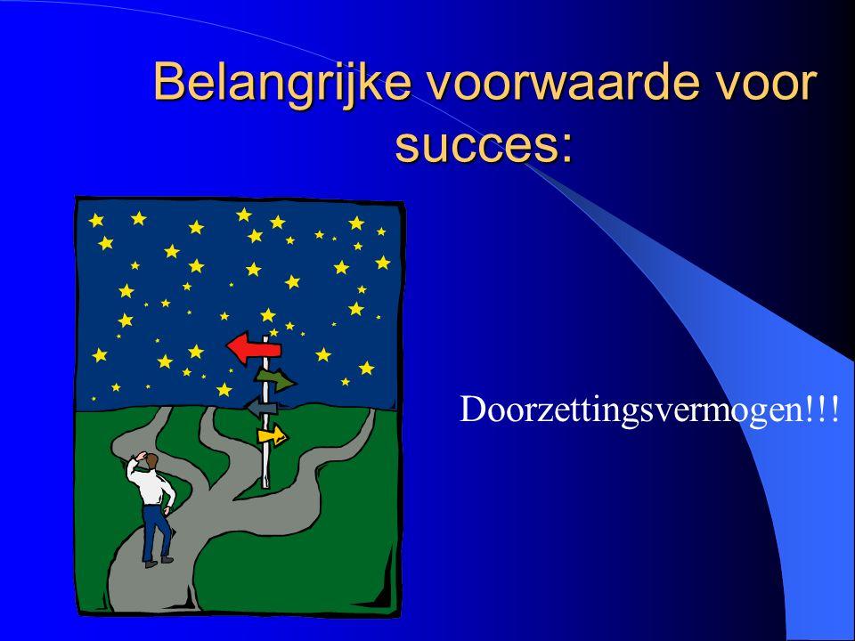 Belangrijke voorwaarde voor succes: Doorzettingsvermogen!!!
